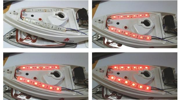 그림 5. 듀티비에 따른 LED Bar의 밝기 변화