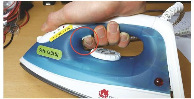 그림 8. 정상적으로 다리미를 사용할 때의 모습 (220V ON, 다리미가 누워있지만 푸쉬 스위치가 눌려 있음)